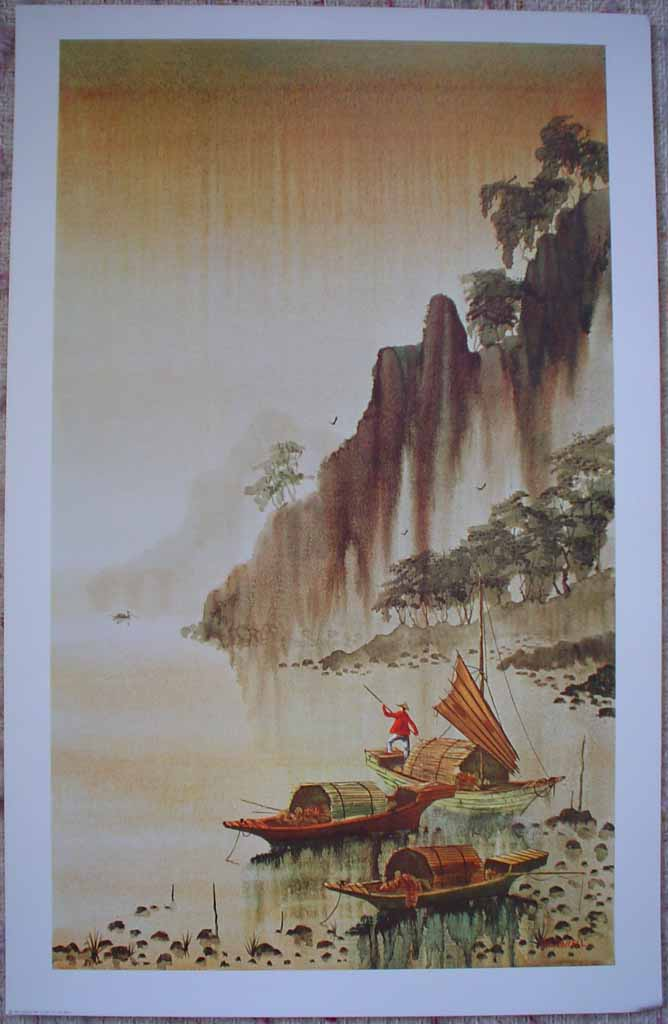 Into The Dawn by R.E. (Robert E.) Russell, published by Donald Art Company, shown with full margins - offset lithograph reproduction vintage fine art print