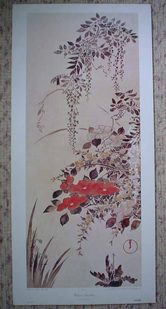 Wisteria by Fukae Roshu, shown with full margins. Published by Aaron Ashley, Inc, made in U.S.A. - offset lithograph reproduction vintage fine art print