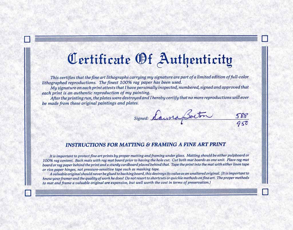 limited edition print certificate of authenticity template - barton summer blooms certificate detail kerrisdale