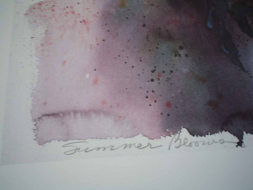 Summer Blooms by Dawna Barton, titled and signed by artist and numbered 588/950, detail to show title - offset lithograph limited edition vintage fine art print