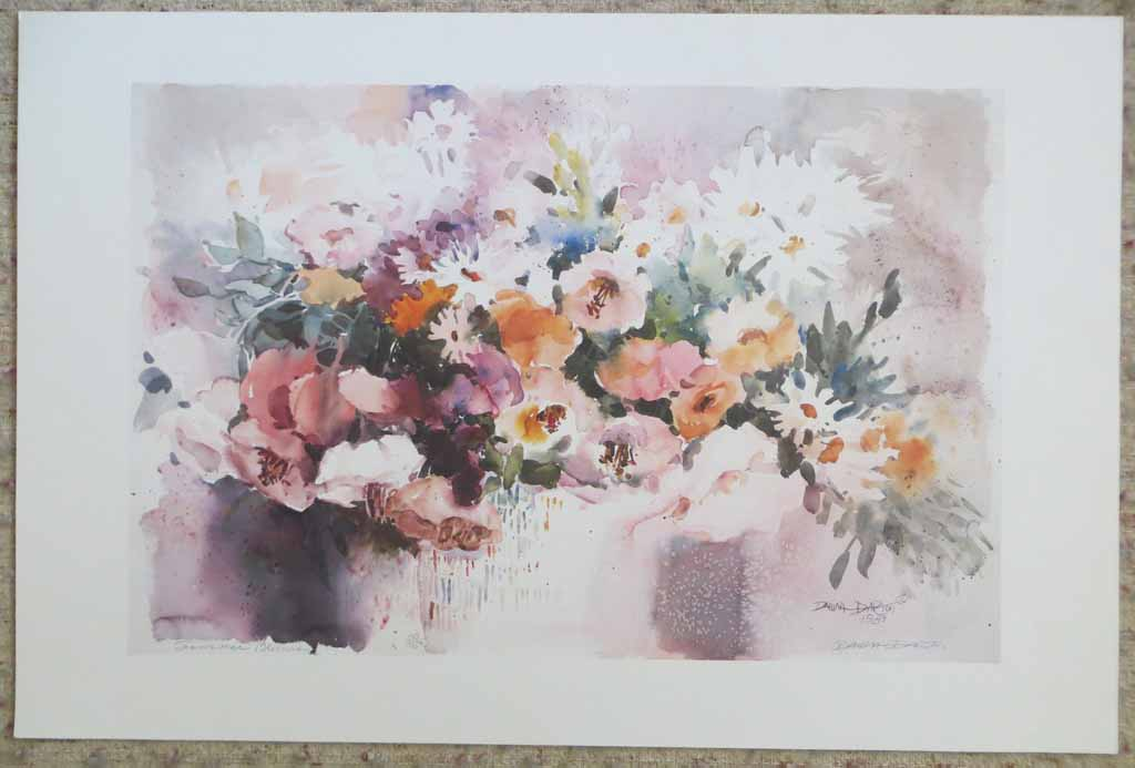 Summer Blooms by Dawna Barton, titled and signed by artist and numbered 588/950, shown with full margins - offset lithograph limited edition vintage fine art print
