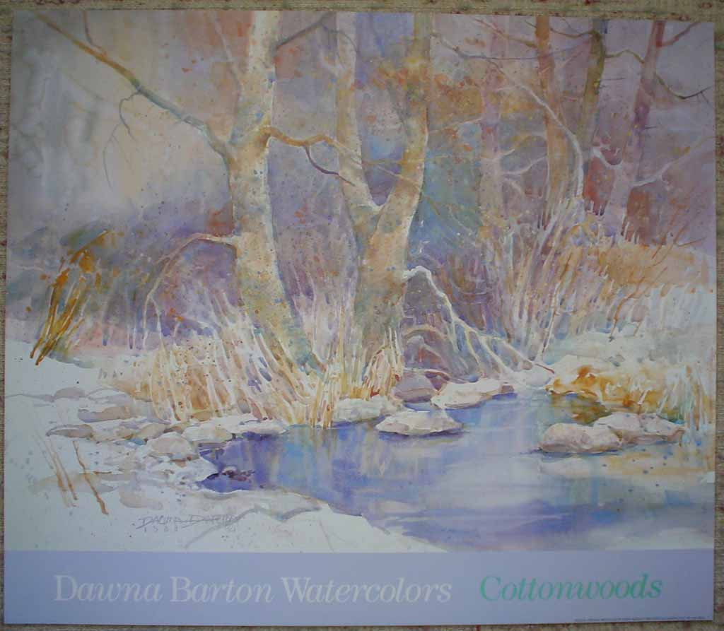 Cottonwoods by Dawna Barton, shown with full margins - offset lithograph reproduction vintage poster art print