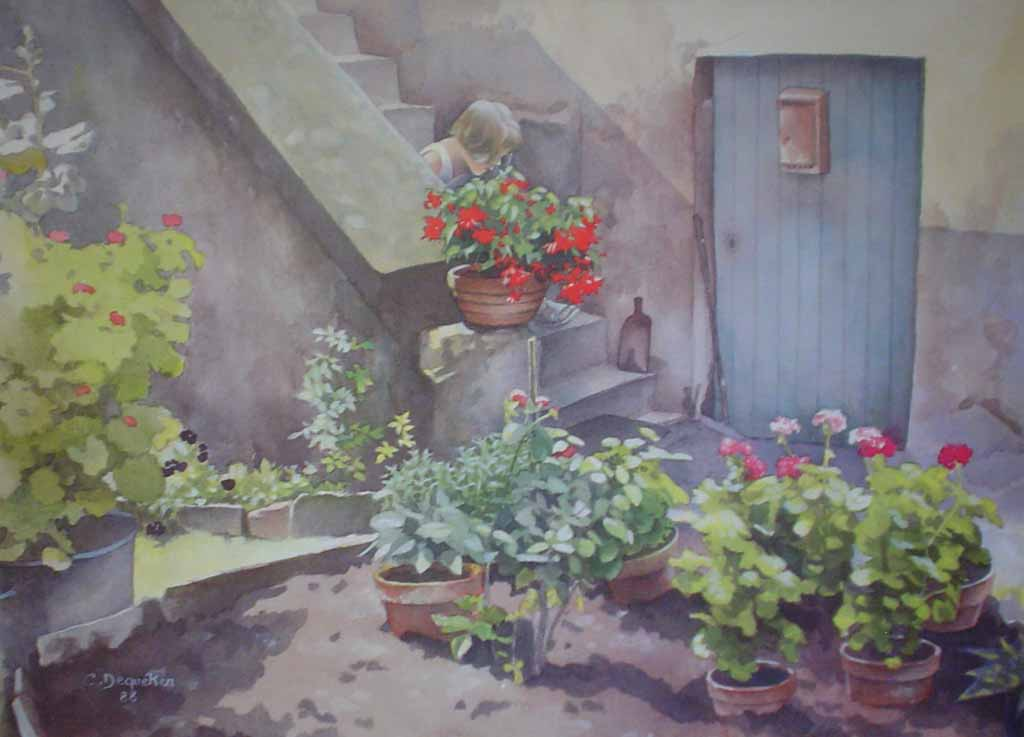 Young Girl And Geraniums, untitled by C. Dequeker, published by Pierre Hautot S.A, printed in France - offset lithograph reproduction vintage fine art print