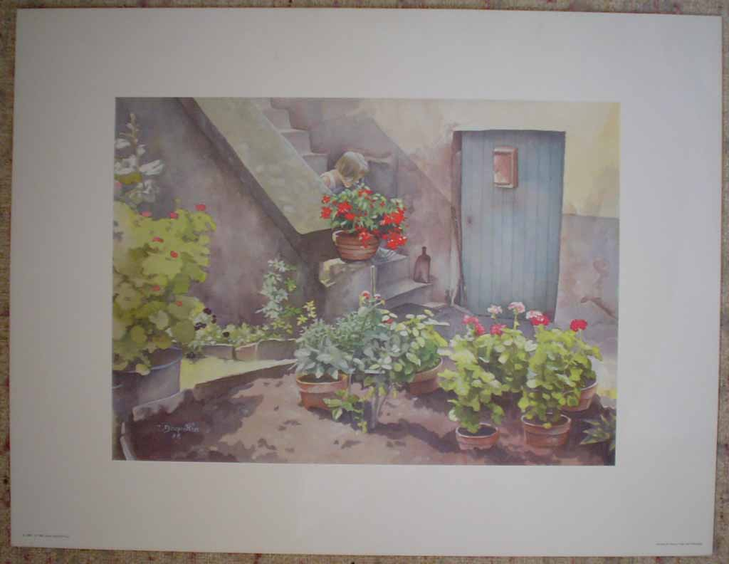 Young Girl And Geraniums, untitled by C. Dequeker, published by Pierre Hautot S.A, printed in France, shown with full margins - offset lithograph reproduction vintage fine art print