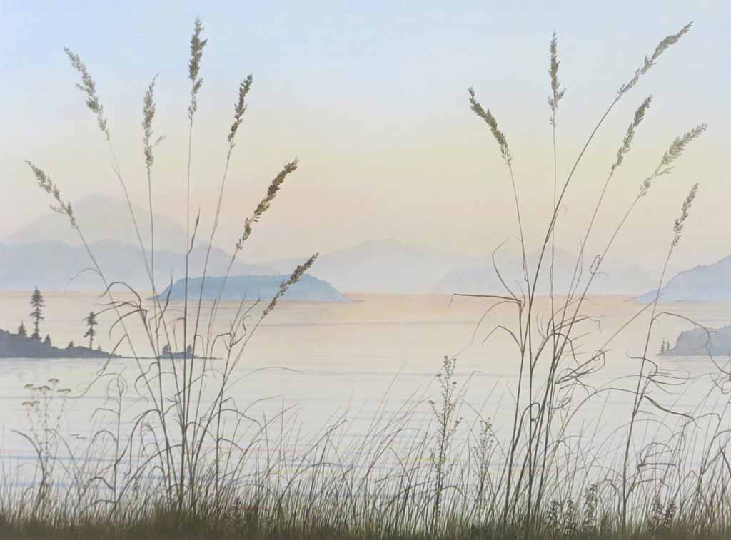 Islands In The Sound by Jeane Duffey, 18x24, printed in England - offset lithograph reproduction vintage fine art print