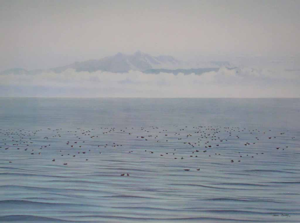 Migrating Ducks by Jeane Duffey, 18x24, printed in England - offset lithograph reproduction vintage fine art print