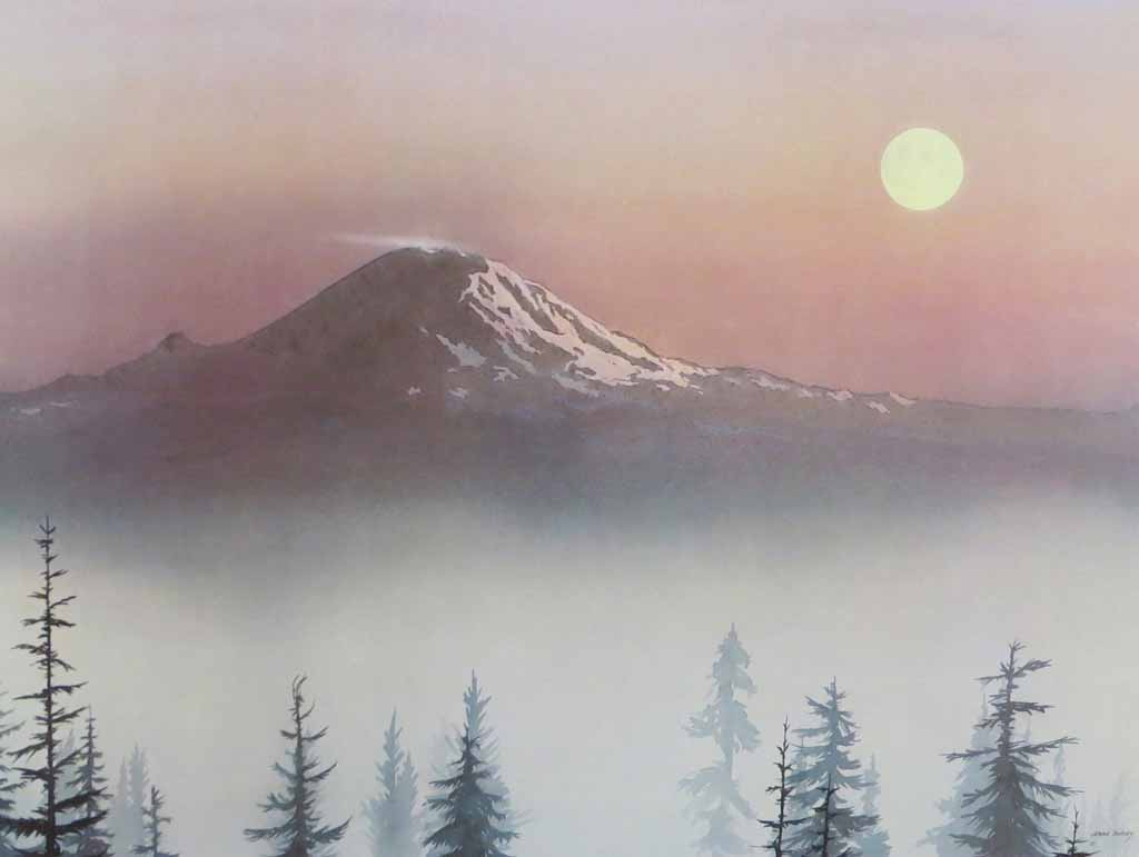 The Mountain by Jeane Duffey, 18x24, printed in England - offset lithograph reproduction vintage fine art print