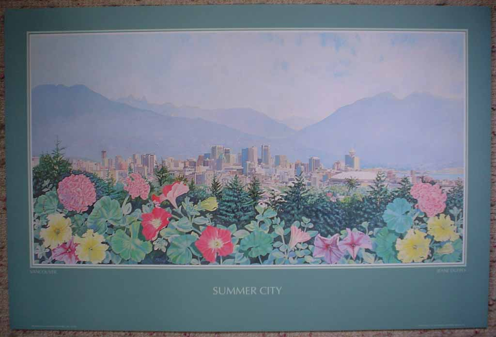 Vancouver: Summer City by Jeane Duffey, printed in U.S.A., shown with full margins - offset lithograph reproduction vintage poster art print