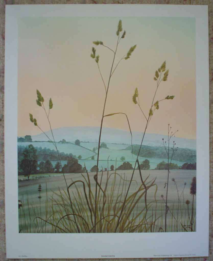 October Evening by Jeane Duffey, 17x14, printed in England, shown with full margins - offset lithograph reproduction vintage fine art print