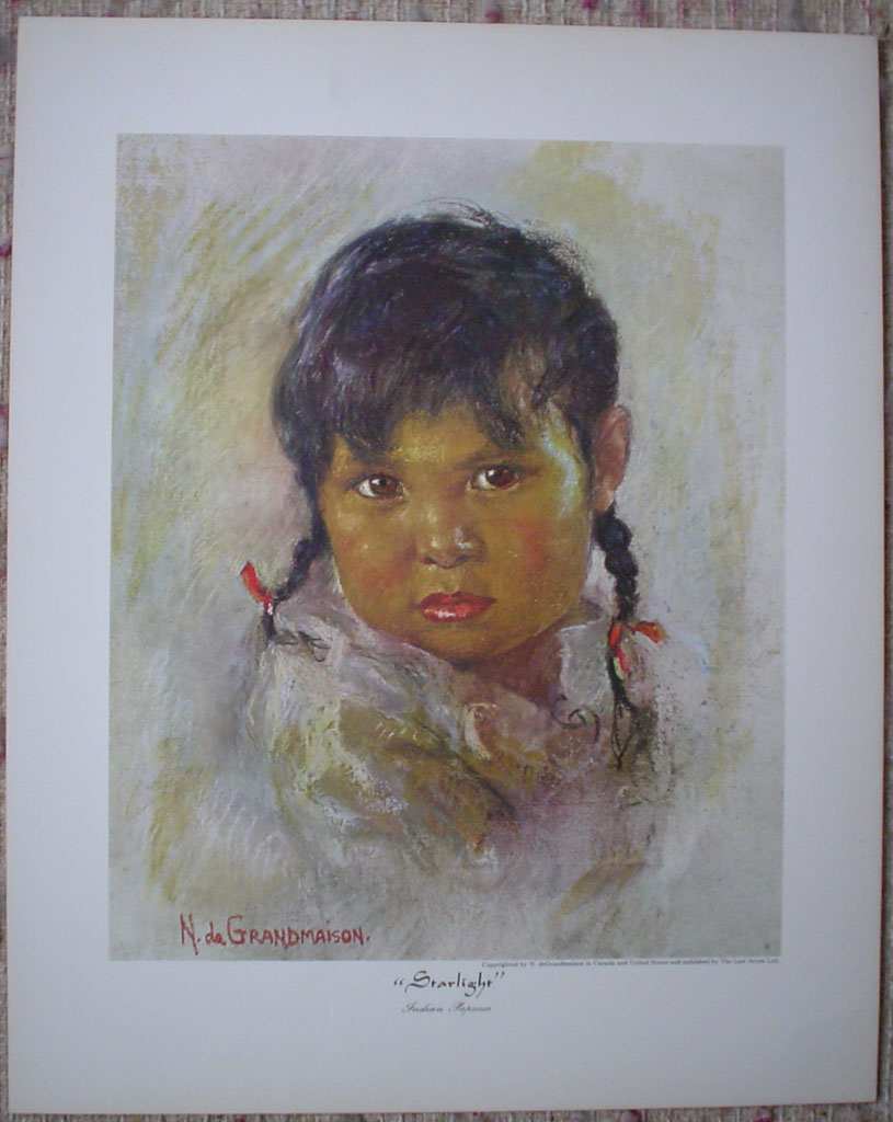 "Starlight: Indian Papoose by Nicholas de Grandmaison, numbered en verso as ""I""-29, shown with full margins - offset lithograph limited edition vintage fine art print"