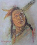 "Blackfoot Brave by Nicholas de Grandmaison, numbered en verso as ""X""-550 - offset lithograph limited edition vintage fine art print"
