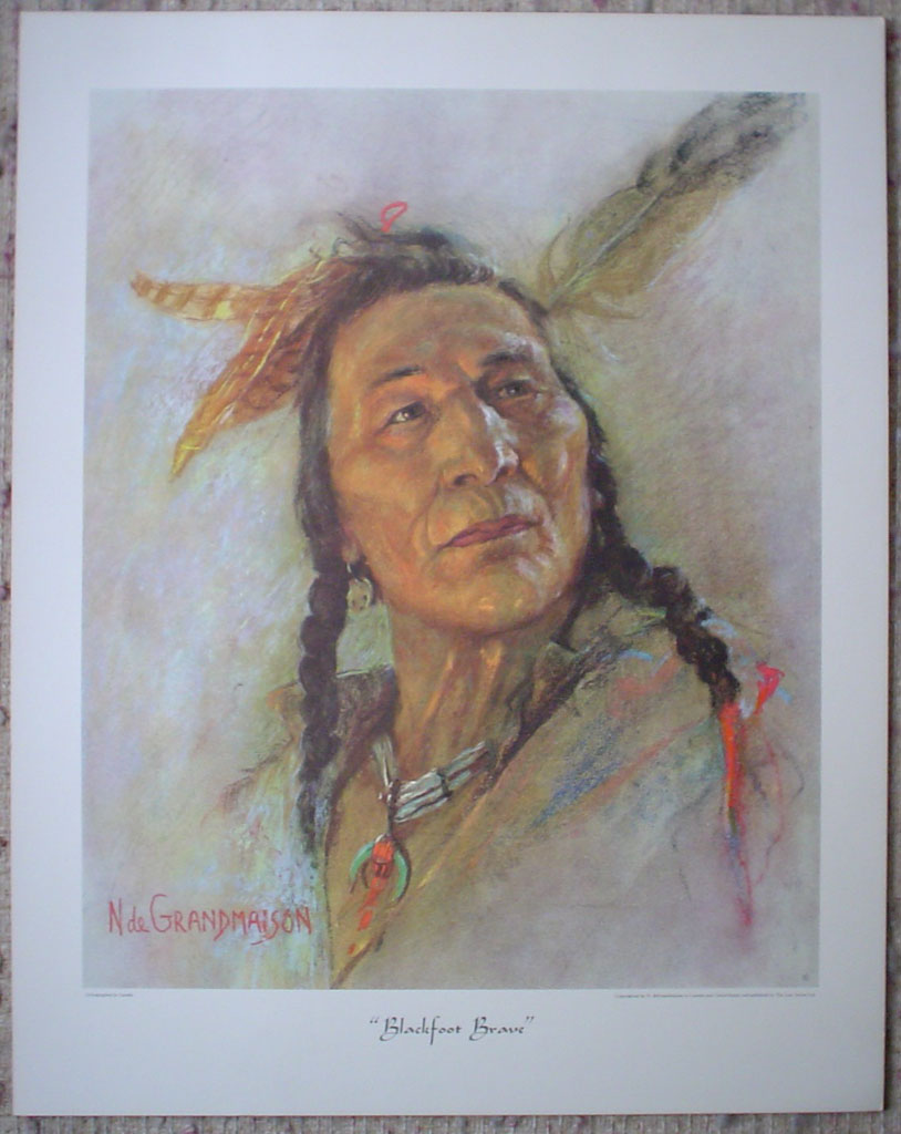"Blackfoot Brave by Nicholas de Grandmaison, numbered en verso as ""X""-550, shown with full margins - offset lithograph limited edition vintage fine art print"