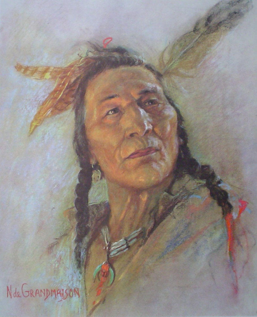 "Blackfoot Brave by Nicholas de Grandmaison, numbered en verso as ""X""-551 - offset lithograph limited edition vintage fine art print"