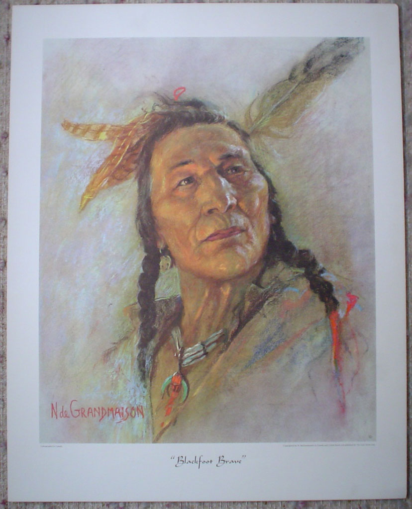"Blackfoot Brave by Nicholas de Grandmaison, numbered en verso as ""X""-551, shown with full margins - offset lithograph limited edition vintage fine art print"