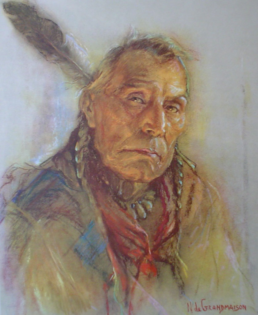 "Chief Coldweather by Nicholas de Grandmaison, numbered en verso as ""R""-727 - offset lithograph limited edition vintage fine art print"