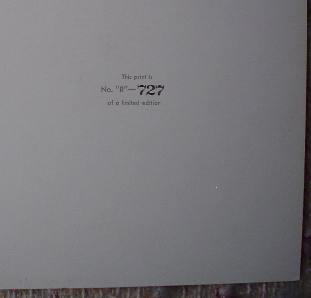 "Chief Coldweather by Nicholas de Grandmaison, numbered en verso as ""R""-727, detail to show edition number - offset lithograph"