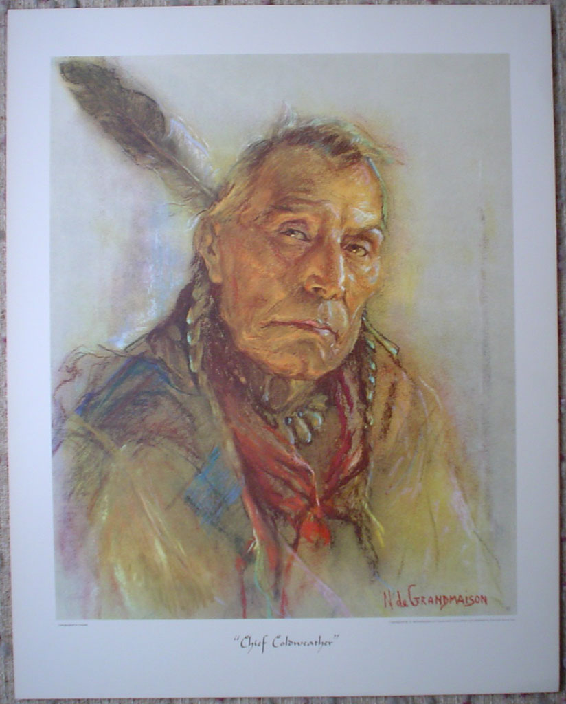 "Chief Coldweather by Nicholas de Grandmaison, numbered en verso as ""R""-727, shown with full margins - offset lithograph limited edition vintage fine art print"