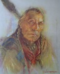 "Chief Coldweather by Nicholas de Grandmaison, numbered en verso as ""R""-728 - offset lithograph limited edition vintage fine art print"