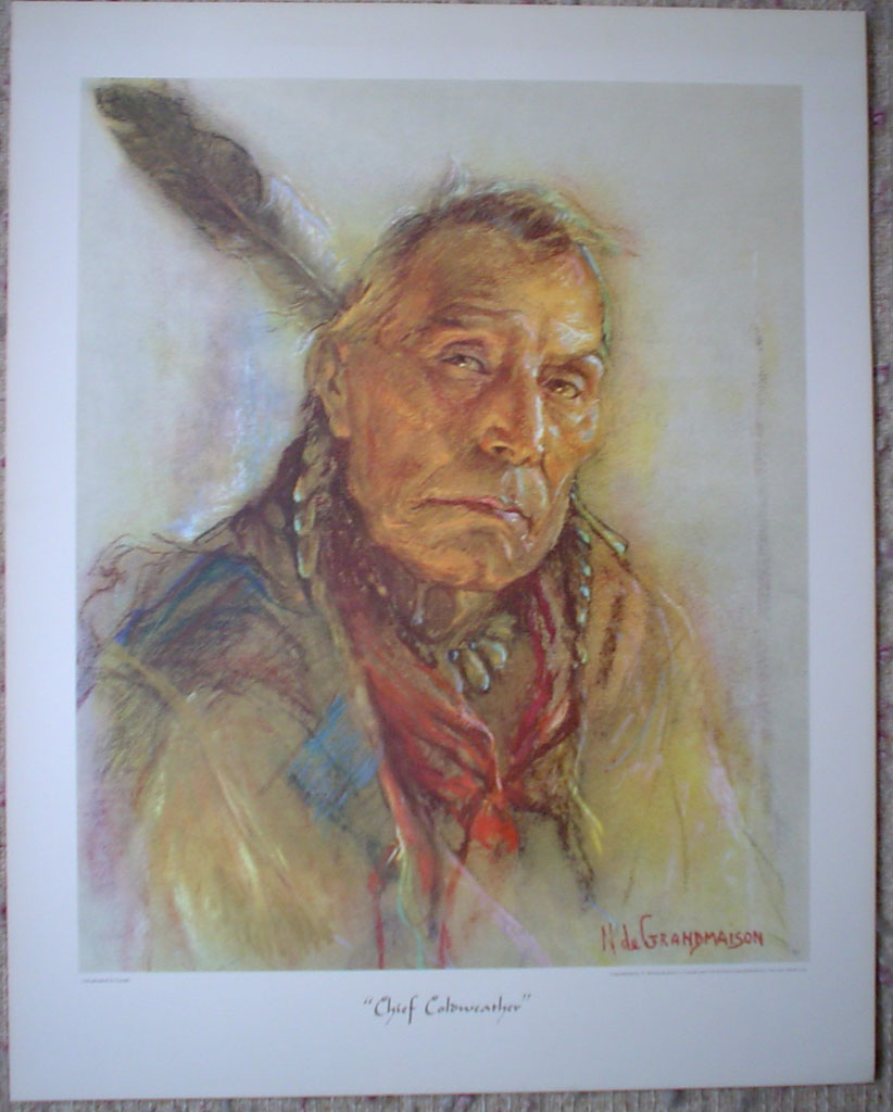 "Chief Coldweather by Nicholas de Grandmaison, numbered en verso as ""R""-728, shown with full margins - offset lithograph limited edition vintage fine art print"