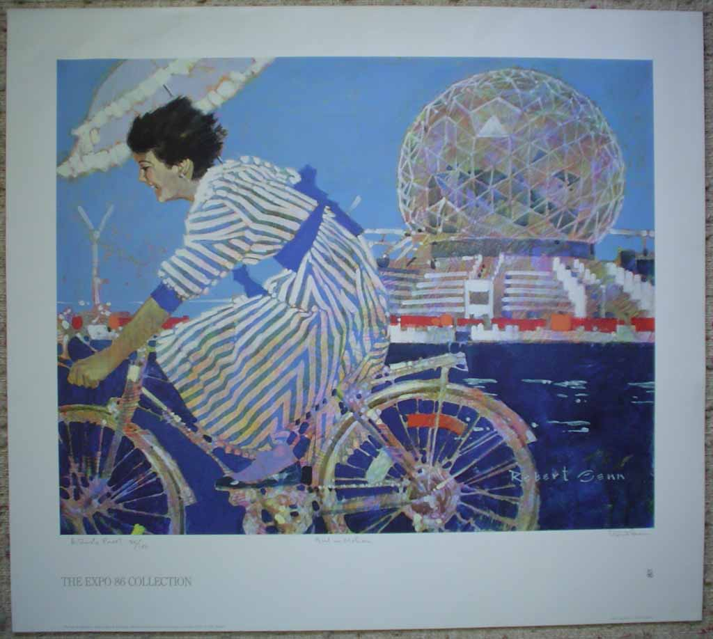 Girl In Motion by Robert Genn, titled, numbered Artist's Proof 20/100 & signed by artist, The Expo'86 Collection poster for Vancouver, B.C., shown with full margins - offset lithograph limited edition vintage poster art print