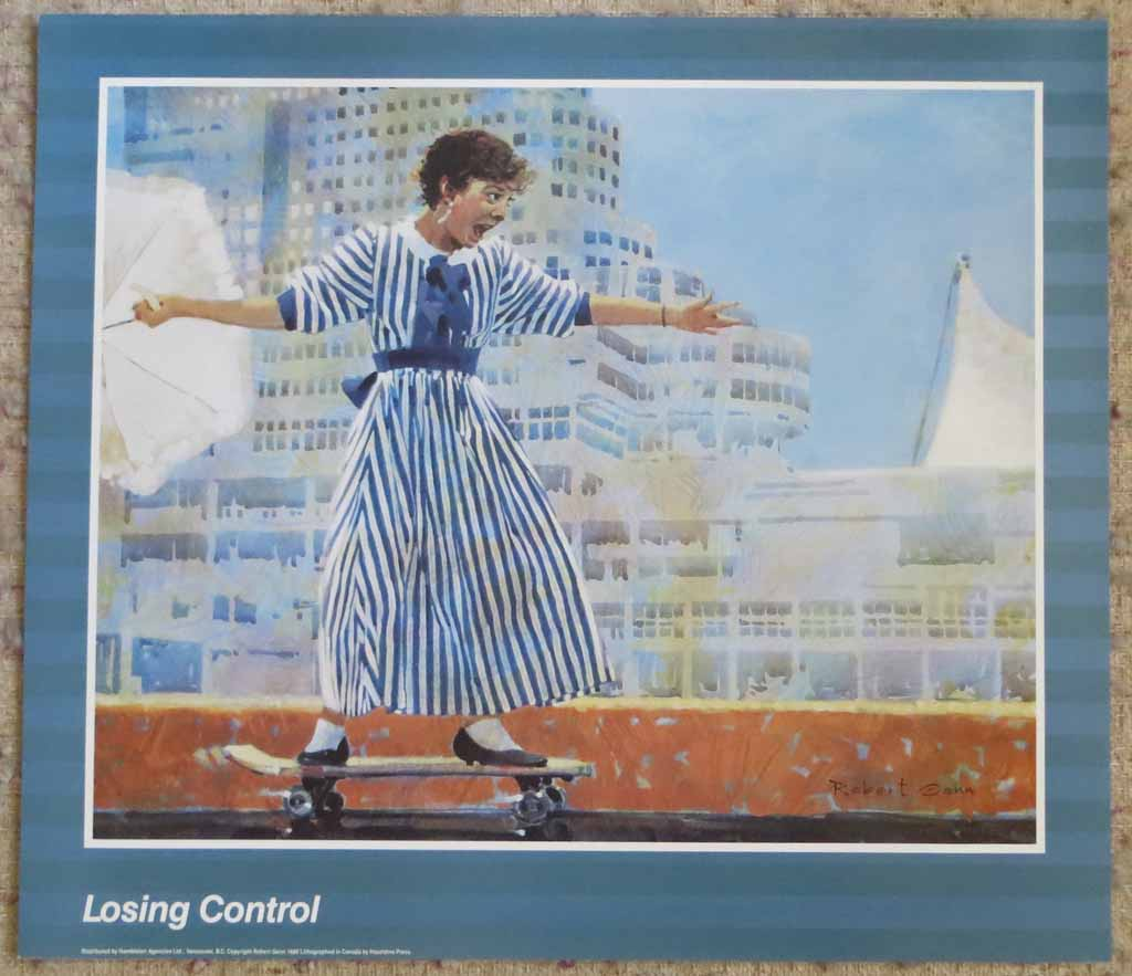 Losing Control by Robert Genn, shown with full margins - offset lithograph reproduction vintage poster art print