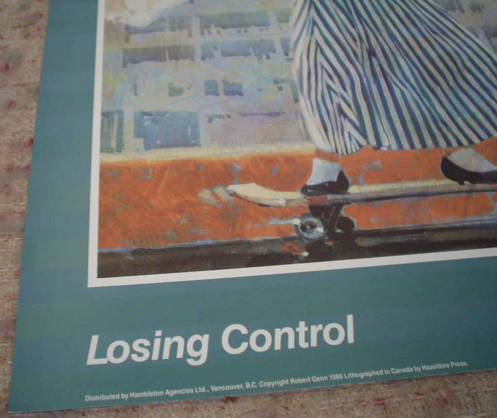 Losing Control by Robert Genn, hand-signed by artist, detail to show publishing information - offset lithograph reproduction vintage poster art print