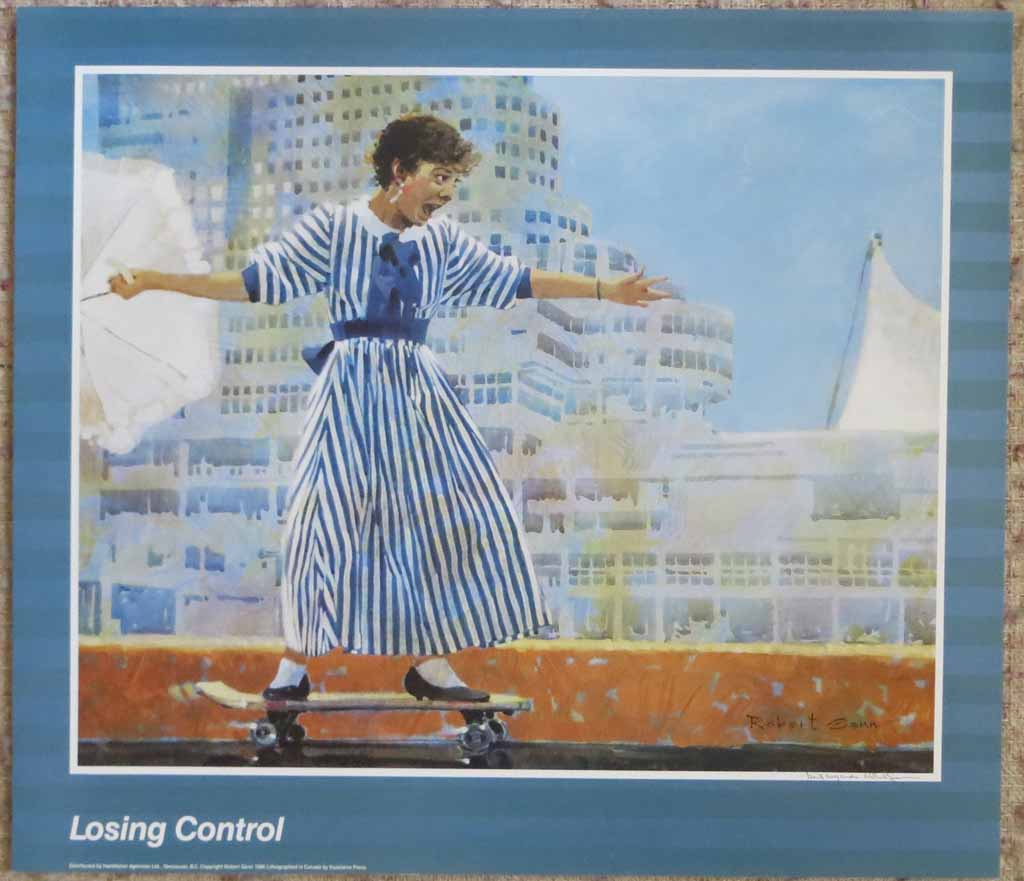 Losing Control by Robert Genn, hand-signed by artist, shown with full margins - offset lithograph reproduction vintage poster art print