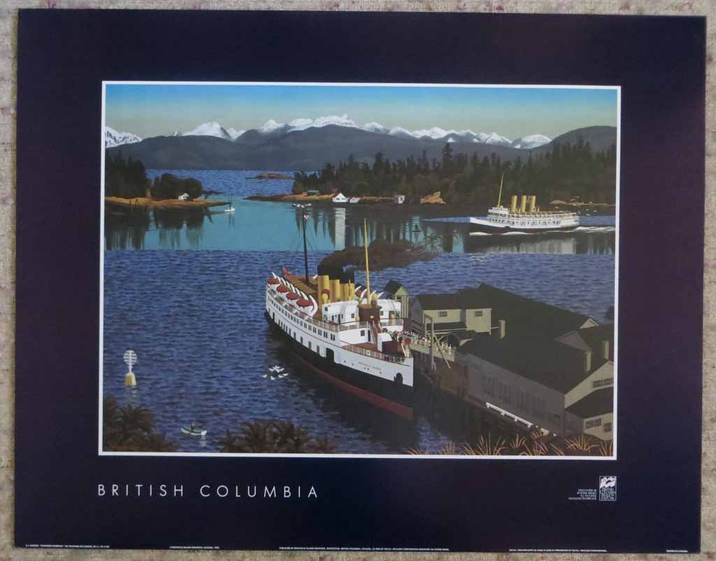 Nanaimo Harbour by Edward John (E.J.) Hughes, from the Vancouver Expo'86 Discovery Series, shown with full margins - offset lithograph reproduction vintage poster art print