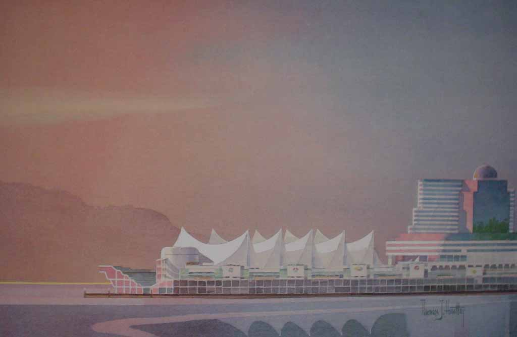 Canada Pavilion 1986 by Thomas J. Huntley, signed by artist - offset lithograph reproduction vintage fine art print
