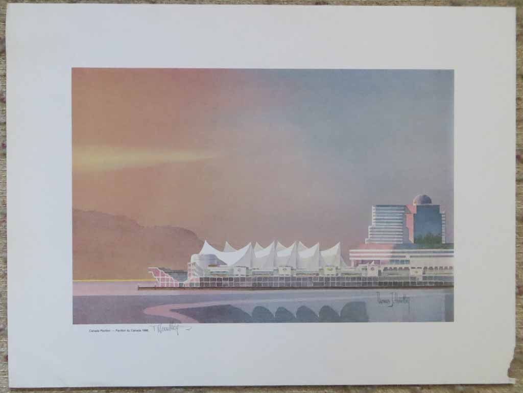 Canada Pavilion 1986 by Thomas J. Huntley, signed by artist, shown with full margins - offset lithograph reproduction vintage fine art print