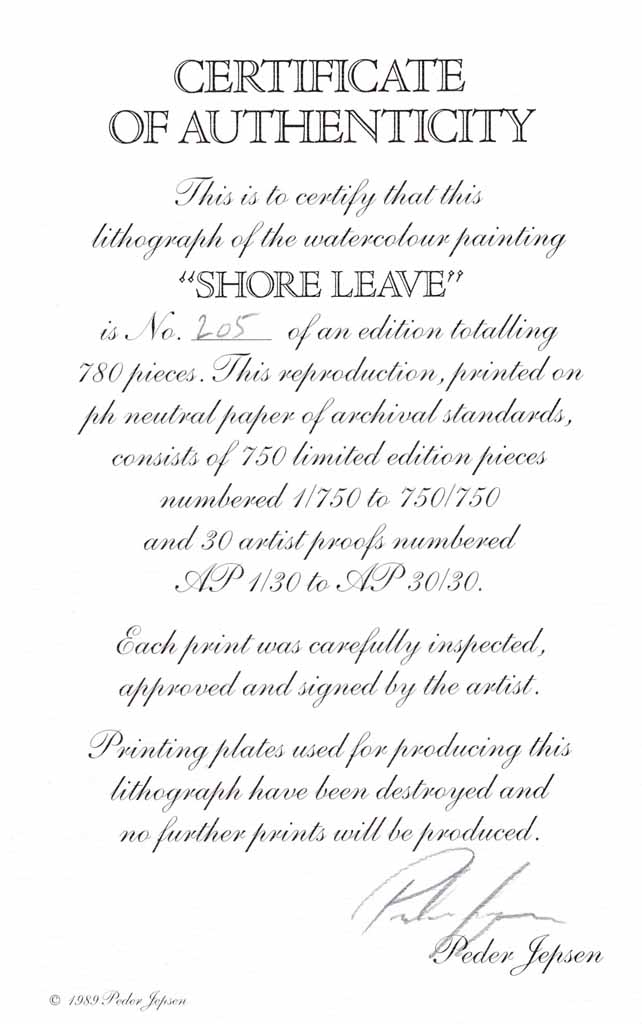 Shore Leave by Peder Jepsen, numbered 205/750, signed by artist, detail to show Certificate of Authenticity - offset lithograph limited edition vintage fine art print