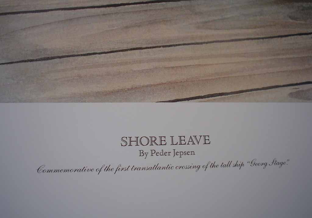 Shore Leave by Peder Jepsen, numbered 205/750, signed by artist, detail to show title - offset lithograph limited edition vintage fine art print