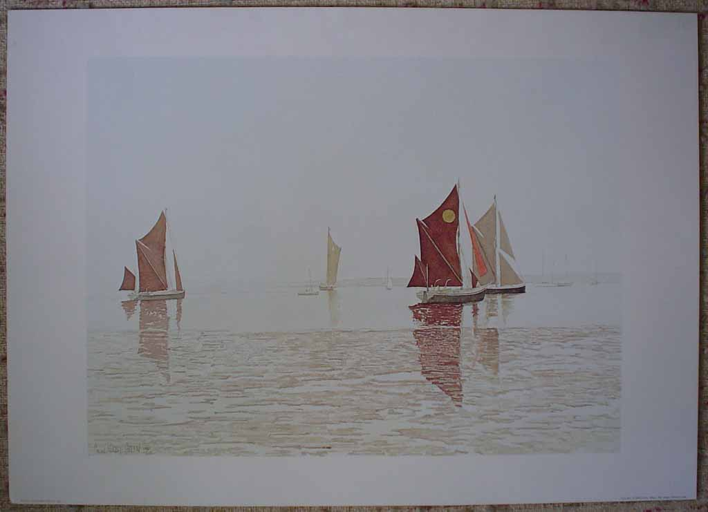 Sampans by Colin Kirby Green, shown with full margins. Published by Il Grigo S.R.L. Milano, printed in Italy. - offset lithograph reproduction vintage fine art print