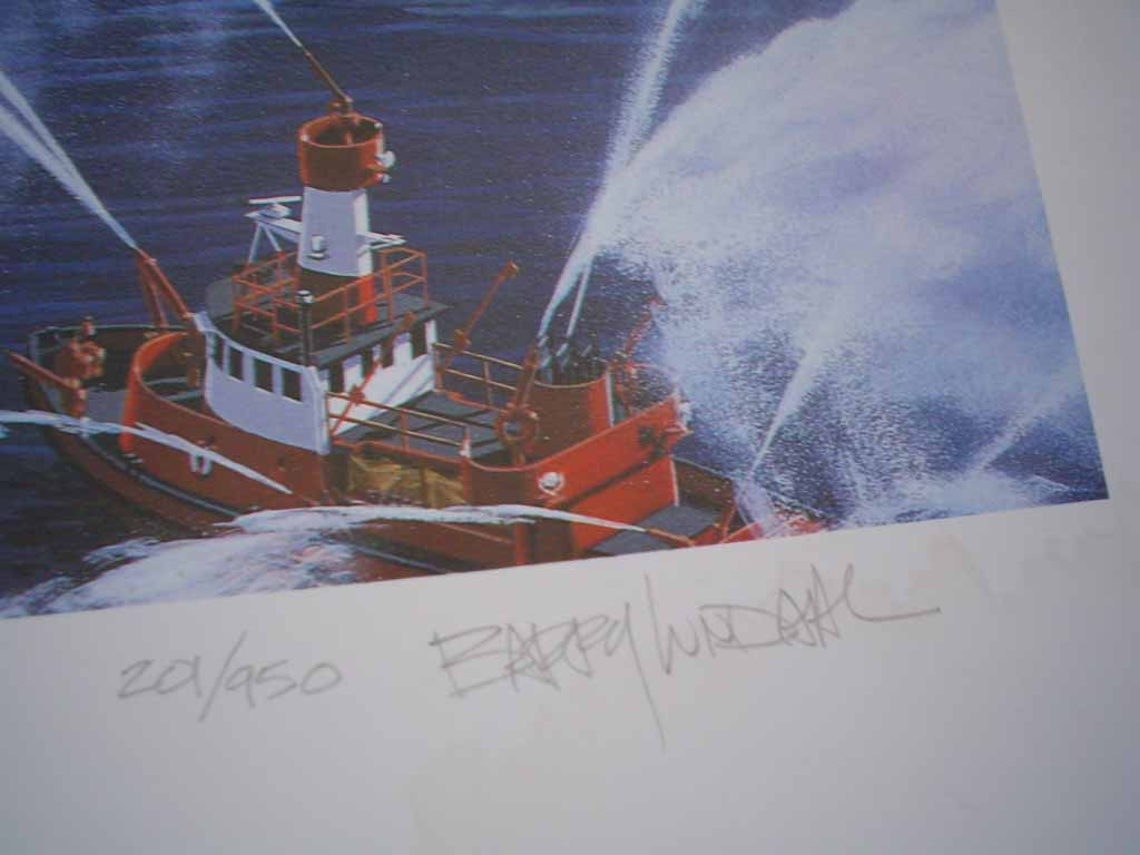 Vancouver Harbour Expo'86 by Barry Lundahl, numbered 201/950 and signed by artist, detail to show edition and artist signature - offset lithograph limited edition vintage fine art print