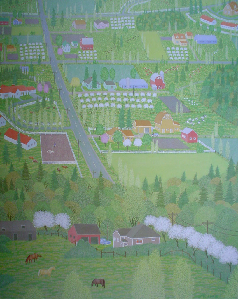 South On Johnson Farm Road by Robert Michener, from the Vancouver Expo'86 B.C. Pavilion Discovery Series, shown with full margins - offset lithograph reproduction vintage poster art print