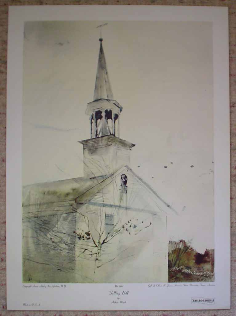 Tolling Bell by Andrew Wyeth, shown with full margins - collectible collotype reproduction vintage fine art print