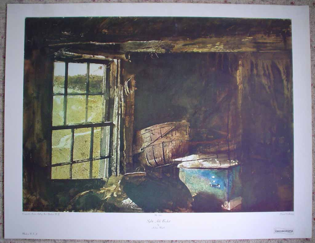 Split Ash Basket by Andrew Wyeth, shon with full margins - collectible collotype reproduction vintage fine art print