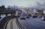 Skytrain To Vancouver 1986 by Alan Wylie, signed by artist - offset lithograph reproduction vintage fine art print