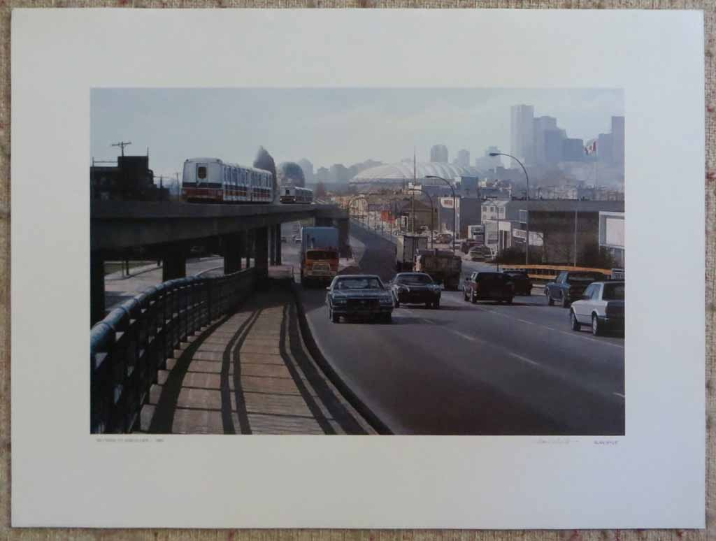 Skytrain To Vancouver 1986 by Alan Wylie, signed by artist, shown with full margins - offset lithograph reproduction vintage fine art print