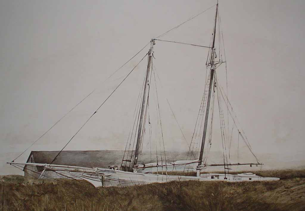 The Slip by Andrew Wyeth, published by New York Graphic Society - offset lithograph reproduction vintage fine art print