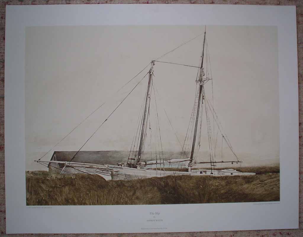 The Slip by Andrew Wyeth, published by New York Graphic Society, shown with full margins - offset lithograph reproduction vintage fine art print
