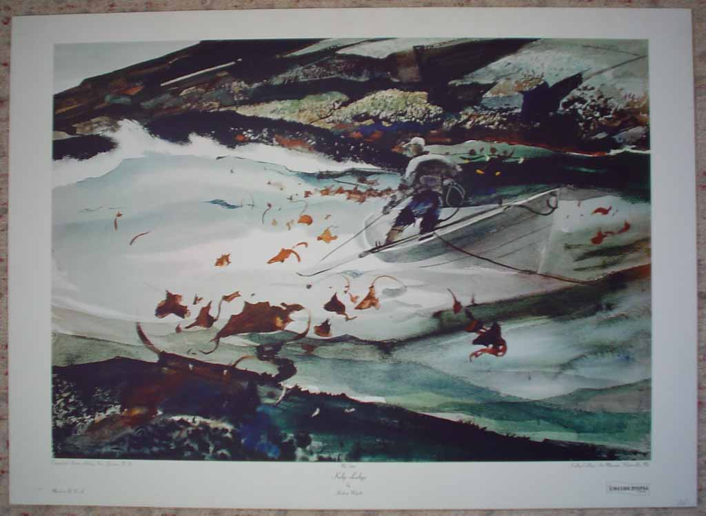 Kelp Ledge by Andrew Wyeth, shown with full margins - collectible collotype reproduction vintage fine art print