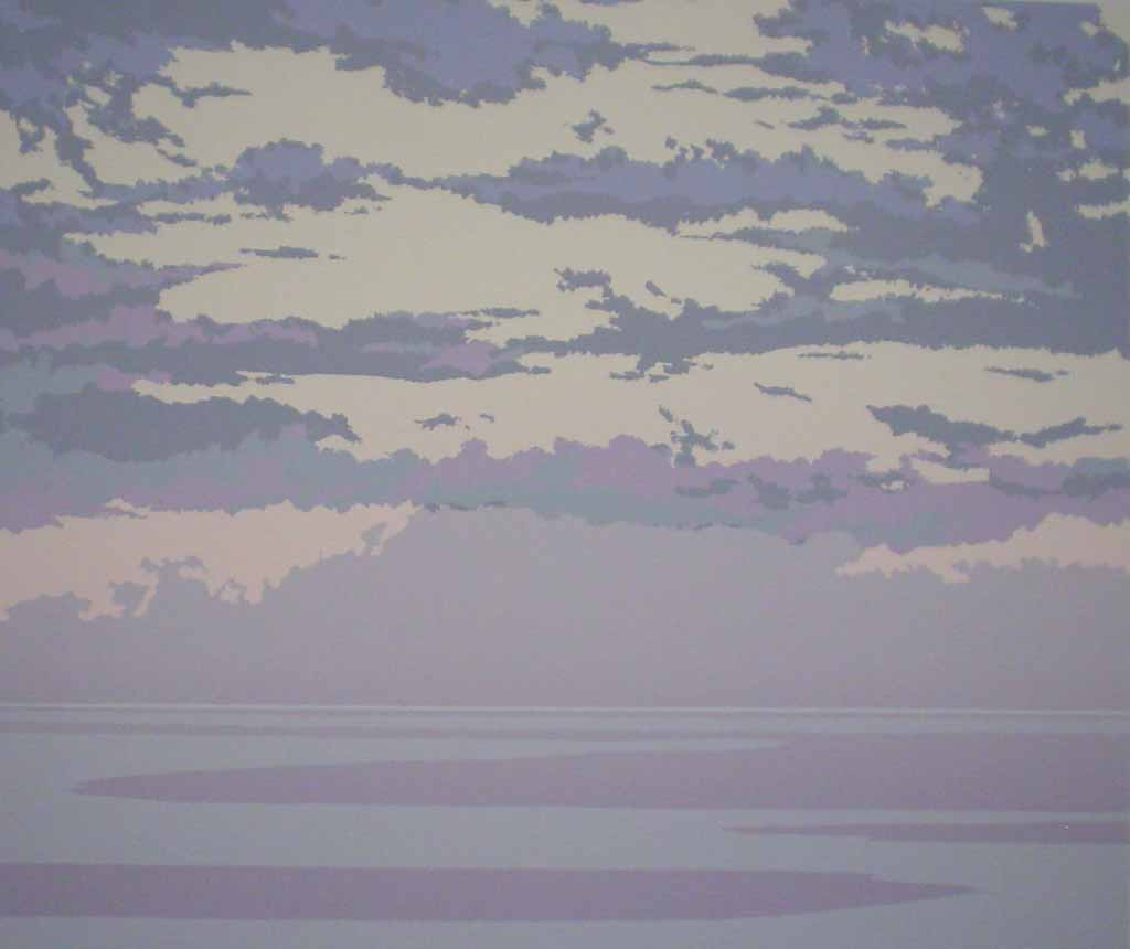 Pacific Sunset by Leyda Campbell - original screenprint/silkscreen limited edition fine art print, signed, titled and numbered 6/197 by artist