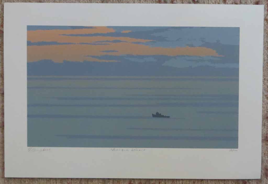 Georgia Strait by Leyda Campbell, shown with full margins - original screenprint/silkscreen limited edition fine art print, signed, titled and numbered 53/100 by artist