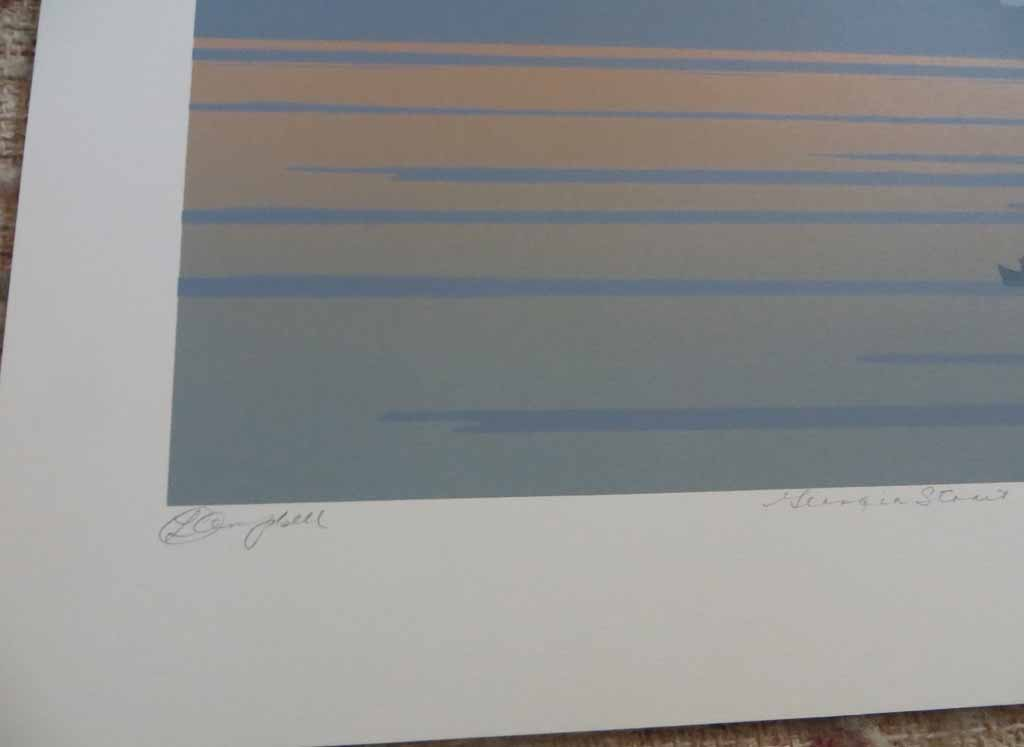 Georgia Strait by Leyda Campbell, detail to show artist signature and title - original screenprint/silkscreen limited edition fine art print, signed, titled and numbered 56/100 by artist