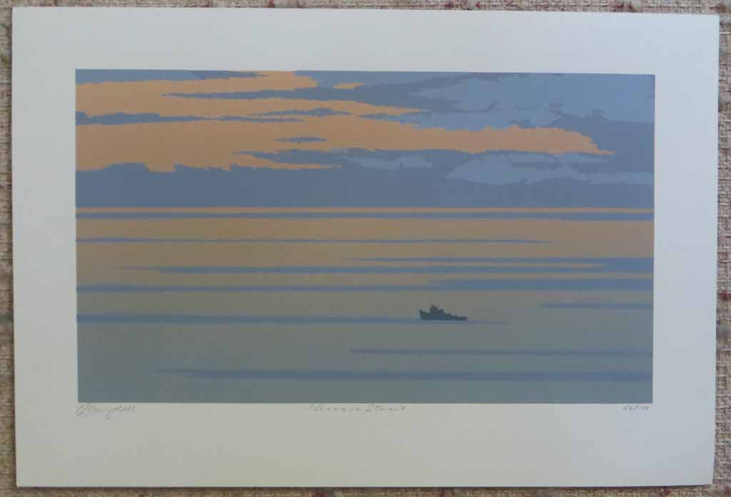 Georgia Strait by Leyda Campbell, shown with full margins - original screenprint/silkscreen limited edition fine art print, signed, titled and numbered 56/100 by artist