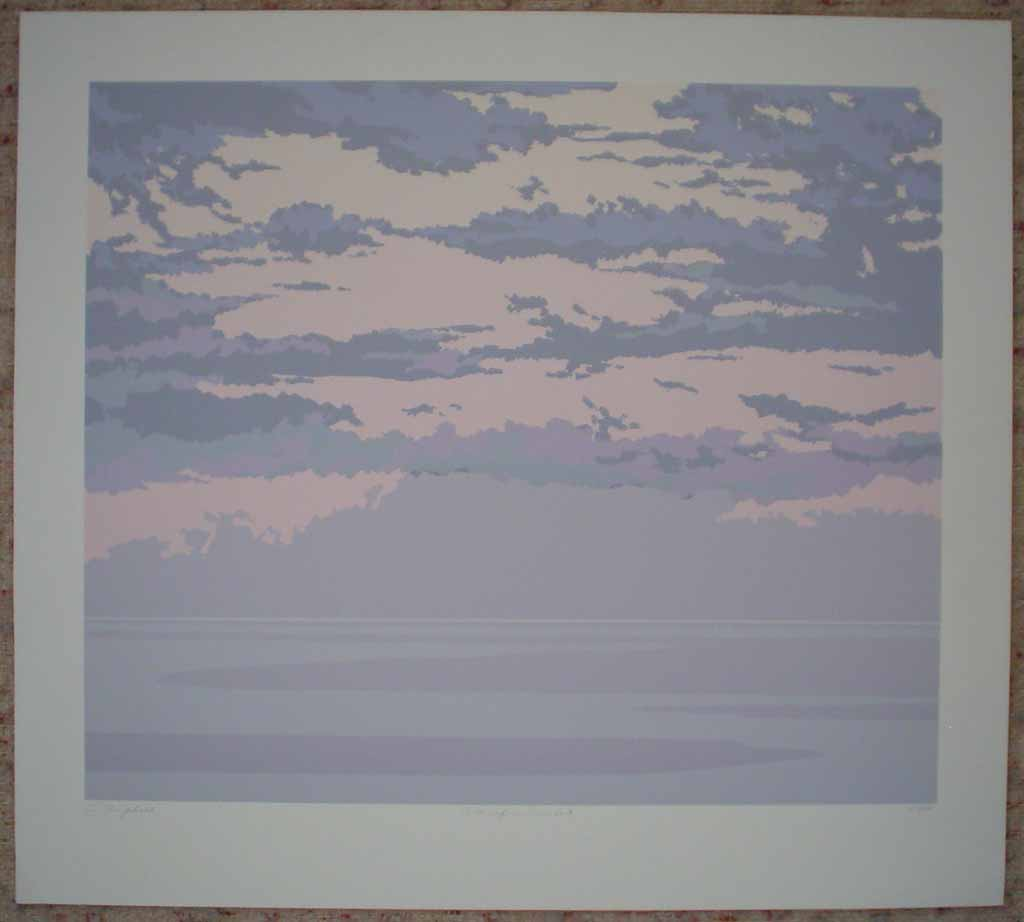 Pacific Sunset by Leyda Campbell, shown with full margins - original screenprint/silkscreen limited edition fine art print, signed, titled and numbered 87/198 by artist