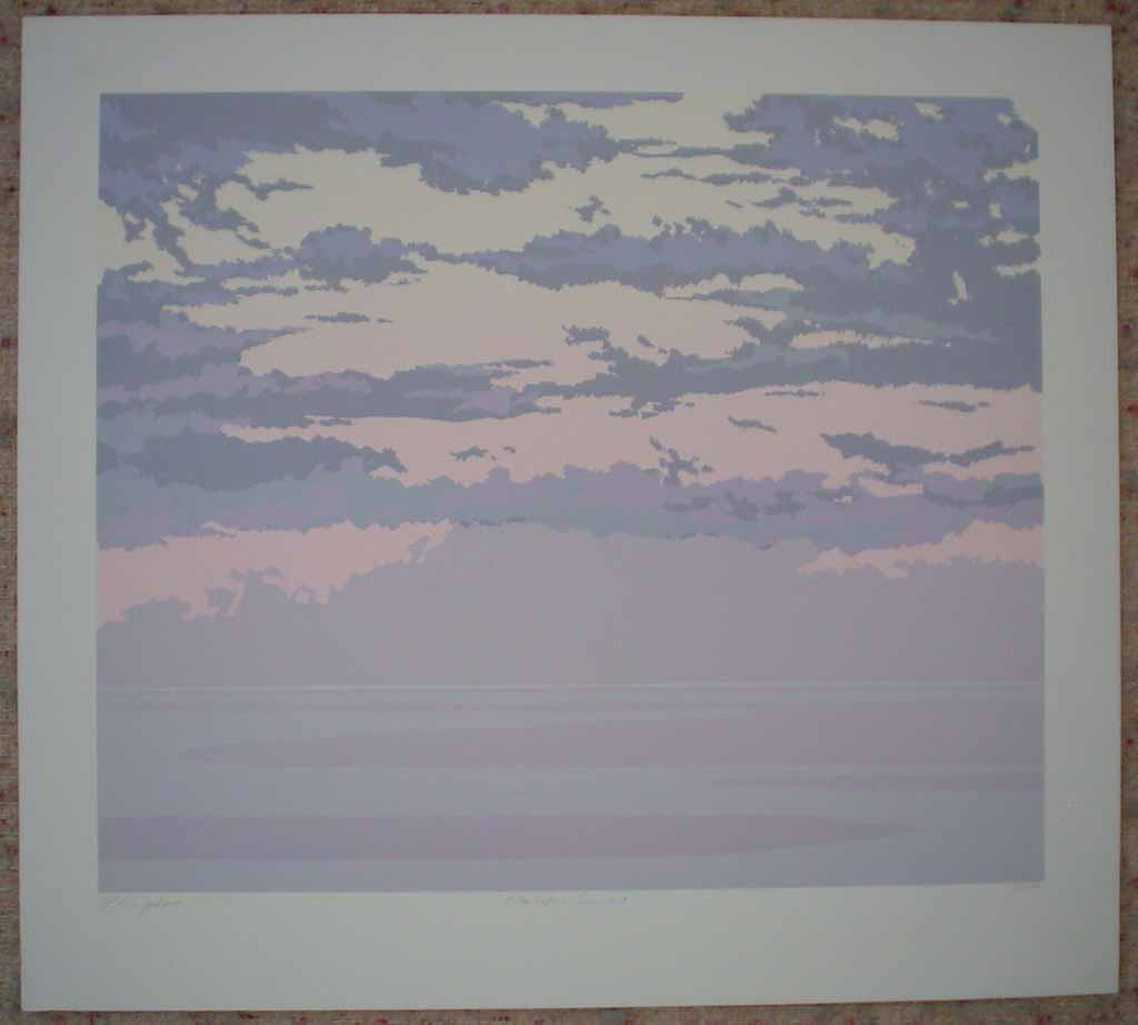 Pacific Sunset by Leyda Campbell, shown with full margins - original screenprint/silkscreen limited edition fine art print, signed, titled and numbered 88/198 by artist