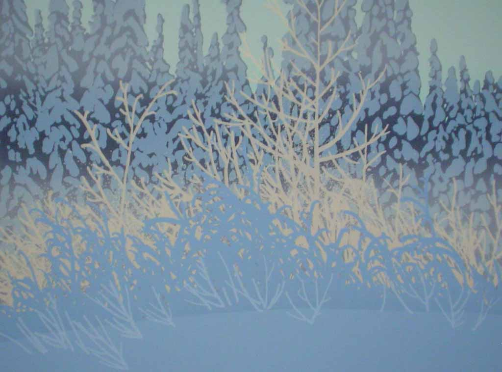 Sunlit Hoarfrost by Leyda Campbell - original screenprint/silkscreen limited edition fine art print, signed, titled and numbered 102/165 by artist