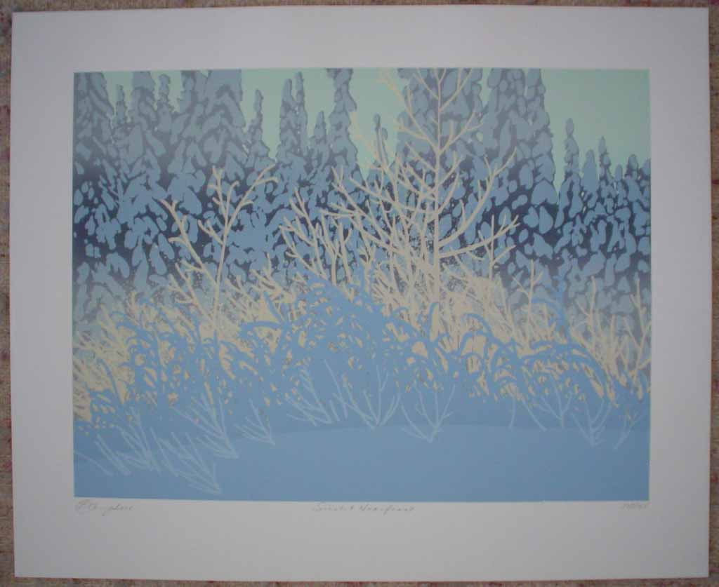Sunlit Hoarfrost by Leyda Campbell, shown with full margins - original screenprint/silkscreen limited edition fine art print, signed, titled and numbered 102/165 by artist